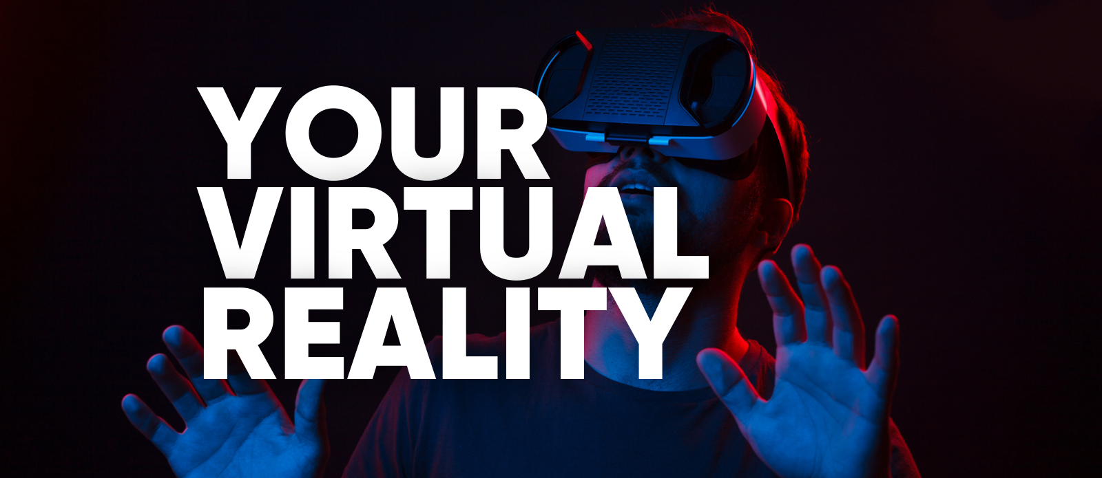 Man with VR goggles on