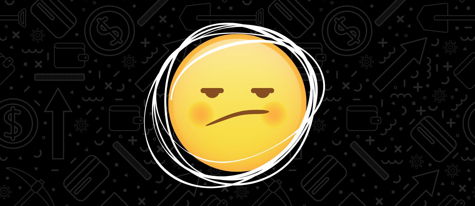 Animated upset emoji on black background